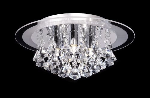 5 Light Flush Fitting With  Glass Backplate & Crystal Drops RENNER-5CH